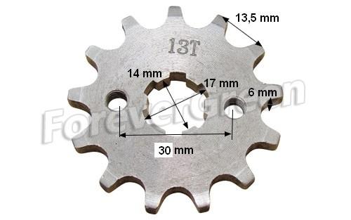 Lánckerék első 420 13 fogas 14/17mm-es tengelyre