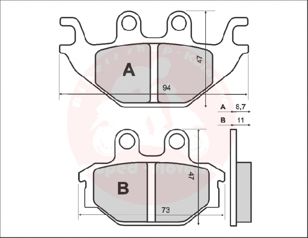 Fékbetét ( KEVLÁR ) KYMCO MXU 250-300ccm 04-05 RMS 0811 / 3070
