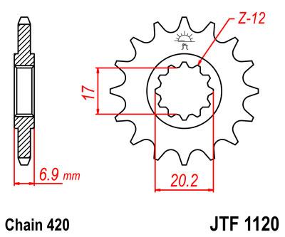 Lánckerék első JTF1120 420 12 fogas AM6