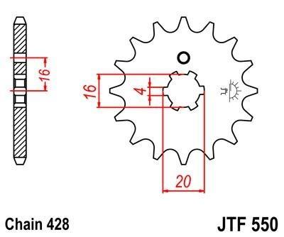 Lánckerék első JTF550 428 16 fogas