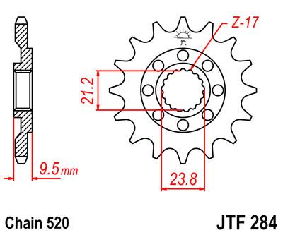 Lánckerék első JTF284 520 12 fogas