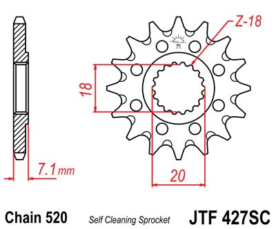 Lánckerék első JTF427SC 520 12 fogas