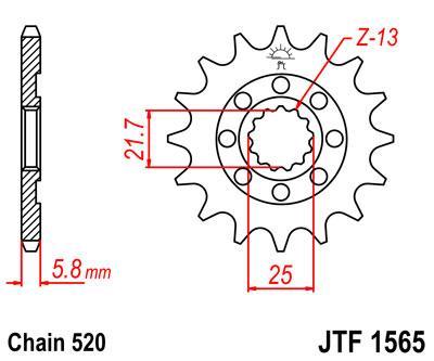 Lánckerék első JTF1565SC 520 13 fogas