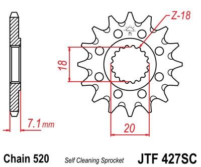 Lánckerék első JTF427SC 520 13 fogas