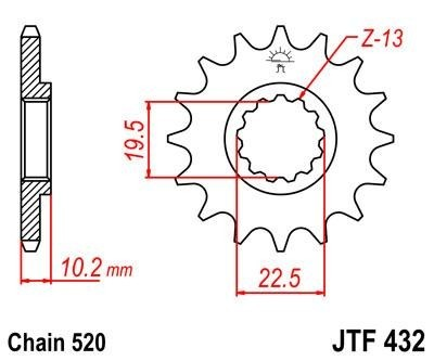 Lánckerék első JTF432SC 520 13 fogas