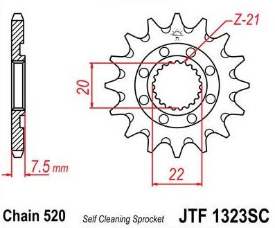 Lánckerék első JTF1323SC 520 14 fogas
