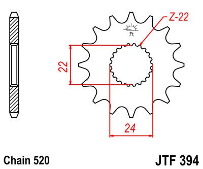 Lánckerék első JTF394 520 14 fogas