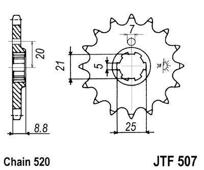 Lánckerék első JTF507 520 14 fogas