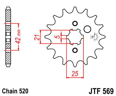 Lánckerék első JTF569 520 14 fogas