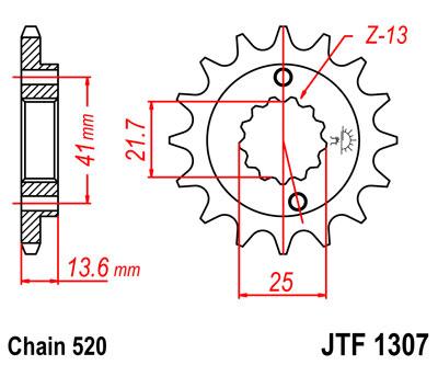 Lánckerék első JTF1307 520 14 fogas