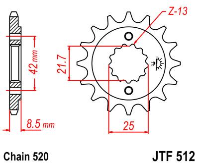 Lánckerék első JTF512 520 15 fogas