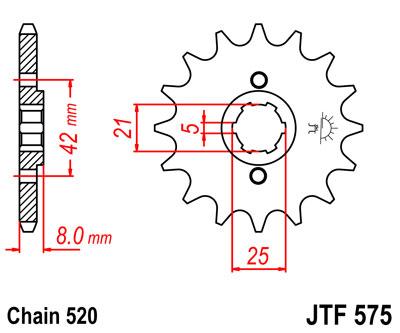 Lánckerék első JTF575 520 15 fogas