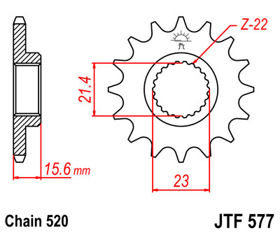 Lánckerék első JTF577 520 15 fogas
