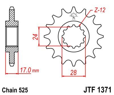Lánckerék első JTF1371 525 15 fogas