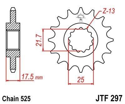 Lánckerék első JTF297 525 15 fogas