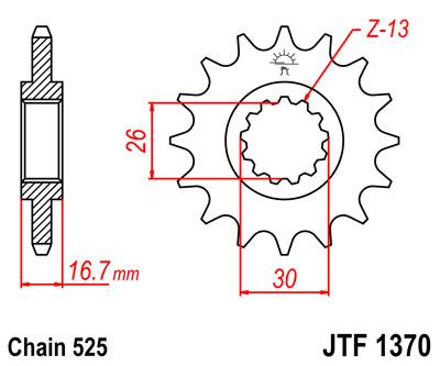 Lánckerék első JTF1370 525 16 fogas