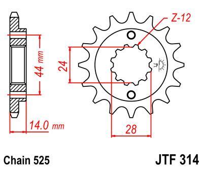 Lánckerék első JTF314 525 16 fogas