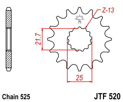 Lánckerék első JTF520 525 16 fogas