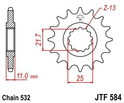 Lánckerék első JTF584 532 16 fogas