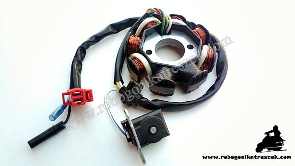 Gyújtás alaplap állórész 4T GY6 8 tekercses, 4 ütemű kínai robogóhoz 5 vezetékes