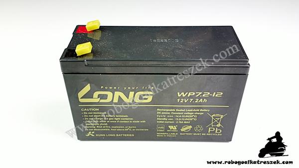 12V 7Ah gondozásmentes elektromos kerékpár akkumulátor (6-DZM-7)