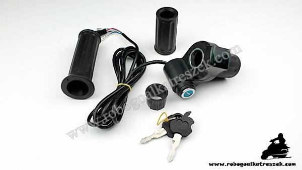 Gázkar töltöttség visszajelzővel és gyújtáskapcsolóval - elektromos kerékpárhoz